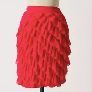Anthropologie Odille Pink Ruffled Skirt